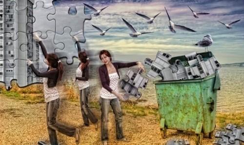 puzzle city woman