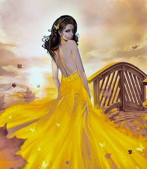 woman yellow dress